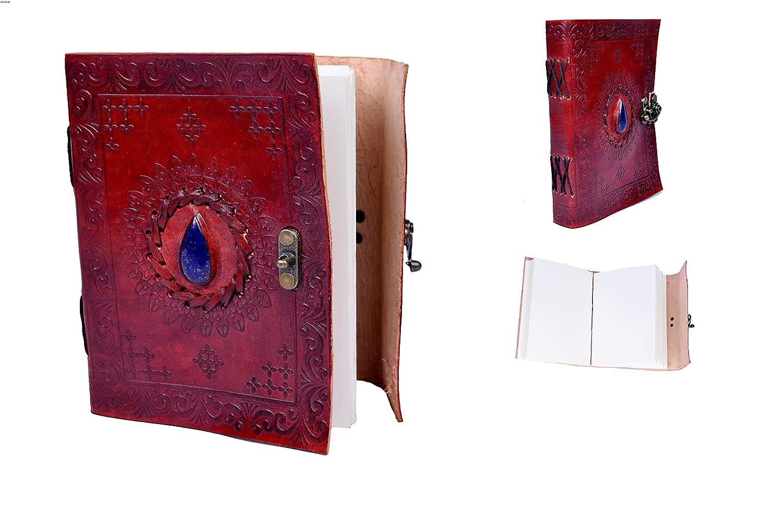 Sankalp Leather Vintage Cuaderno de viaje, Diario, Cuaderno de bocetos, hecho a mano, con piedra y cerrojo en lató n, Piel 100% pura con enví o gratis con piedra y cerrojo en latón Piel 100% pura con envío gratis