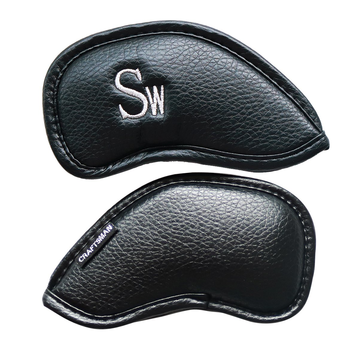 Craftsman Golf 12pcs Thick Synthetic Leather Golf Iron Head Covers Set Headcover Fit All Brands Titleist, Callaway, Ping, Taylormade, Cobra Etc. (Black SW) by Craftsman Golf