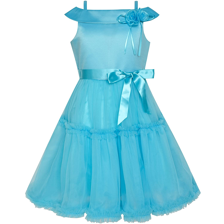 Sunny Fashion Robe Fille Fleur De Épaule Bleu Mariage Reconstitution historique 4-10 ans