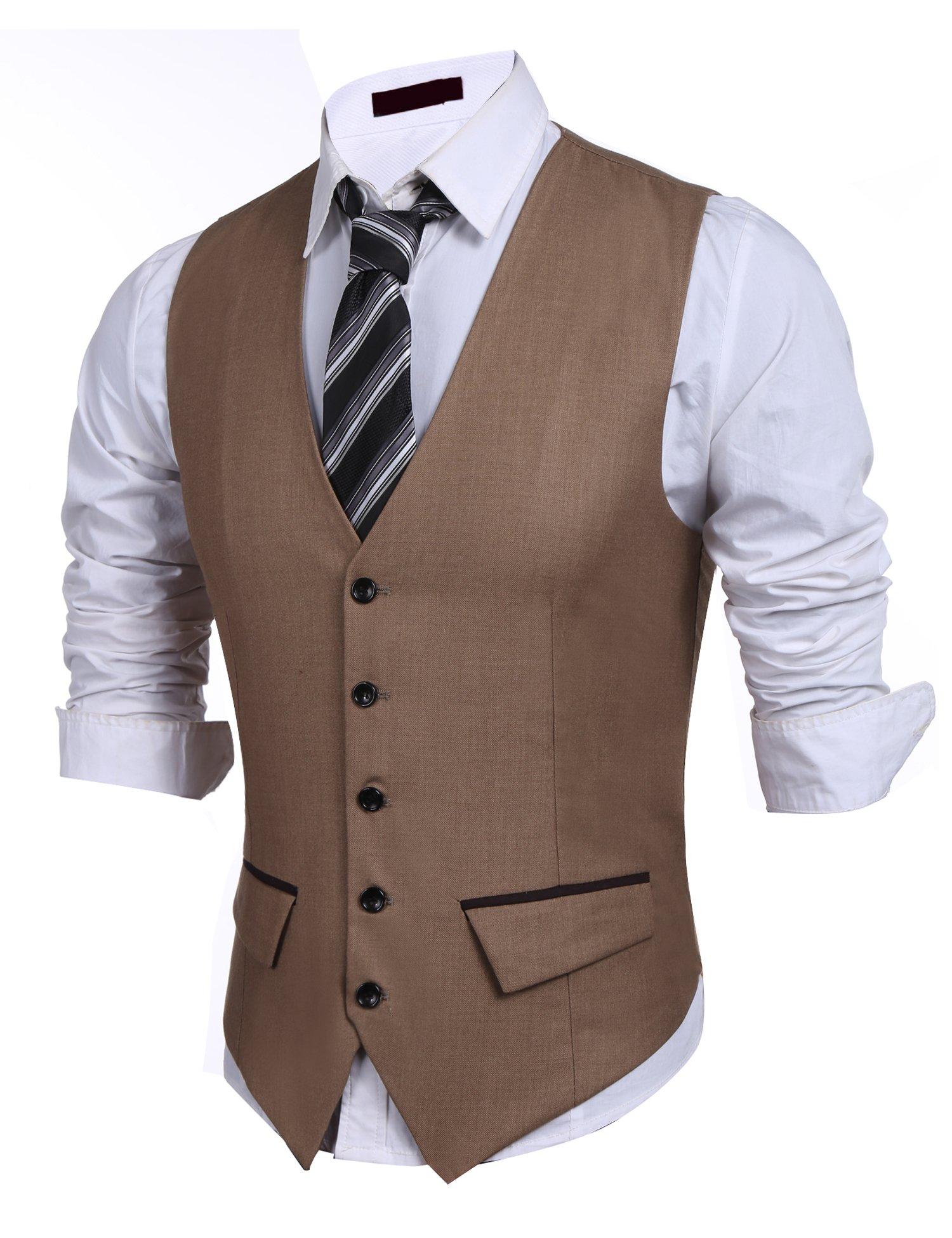 PEATAO Men's Suit Vest, Designed Casual Slim Fit Dress Vest Waistcoat