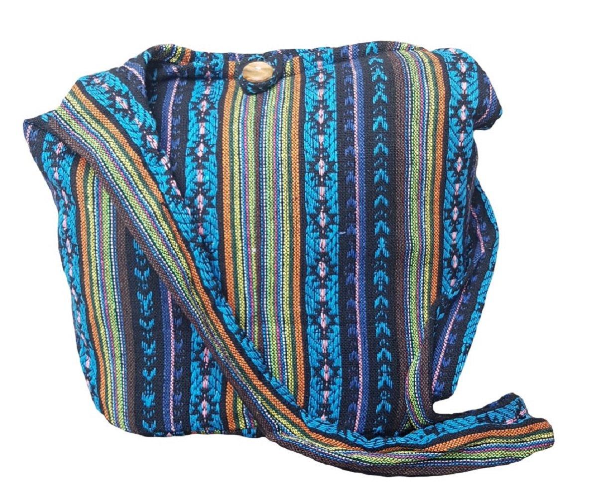 BTP! Thai Cotton Sling Bag Purse Crossbody Messenger Hippie Hobo Hand Woven Ikat (Blue A100)
