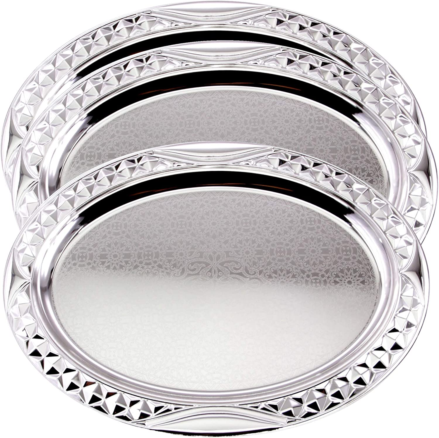 Maro Megastore (Pack of 3 20.2 inch x 14.8 inch Oval Chrome Plated Serving Tray Stylish Design Floral Engraved Edge Decorative Party Birthday Wedding Dessert Buffet Wine Platter Plate TLA-313
