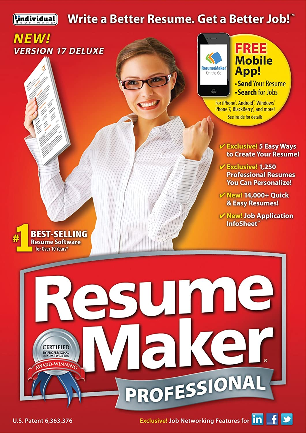 Amazon Com Individual Software Resume Maker Professional Deluxe 17
