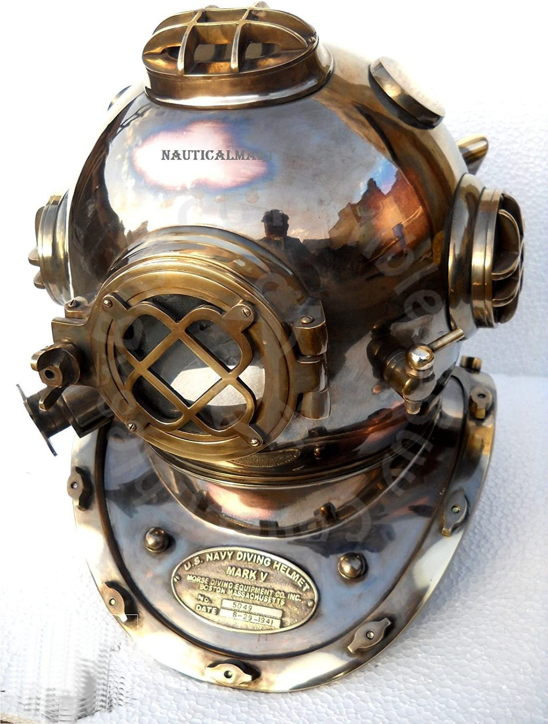 Antique Model U.S Navy Mark V Boston Diving Divers Helmet Copper /& Brass Made A7