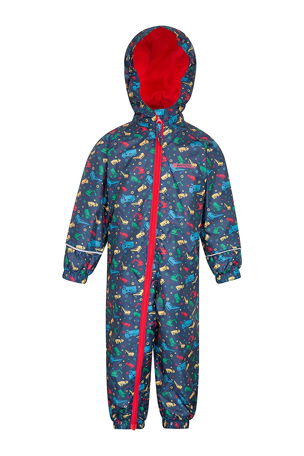 Mountain Warehouse Spright Printed Rain Suit - Breathable Summer Suit, Waterproof Coat, Quick Dry, Taped Seams Kids Raincoat, Fleece Lined, High Viz - for Travelling