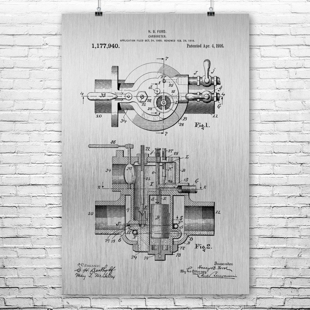 Henry Ford Carburetor Poster Print Mechanic Gift Car Parts Automotive Engineer