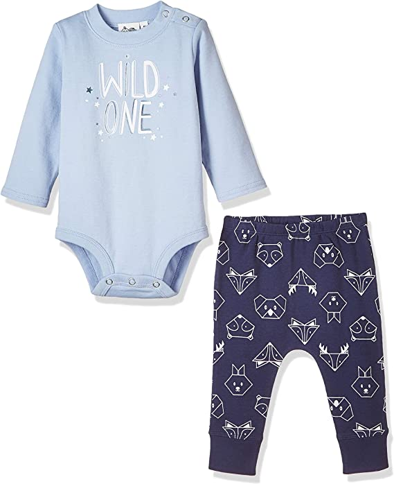 Silly Apples Baby Toddler Boys or Girls Spring Outfit 2-Piece Bear Onesies Bodysuit and Pant Set