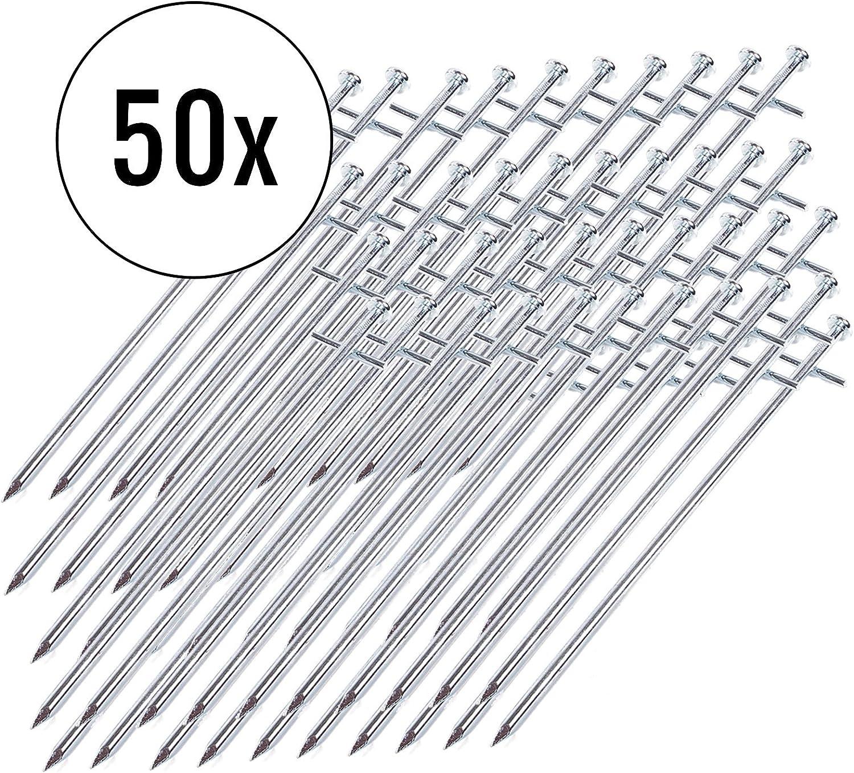 23 cm deiwo Zeltheringe Stahl f/ür Harte B/öden 50er Set Silber Nagelkopf Stahl verzinkt