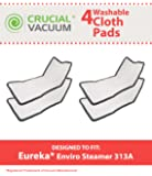4 Replacements for Eureka Steam Pads Fit 310A, 311A, 313A Enviro Floor Steamer, Compatible With Part # 60978, 60980 & 60980A, Washable & Reusable, by Think Crucial