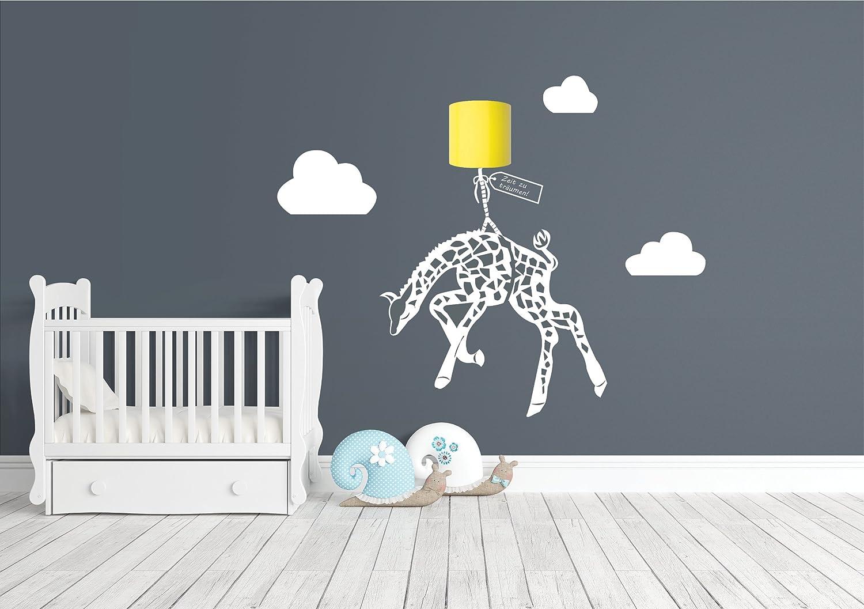 Wandtattoo Giraffe & Licht - weiss - Kinderzimmer - kein Strom nötig - außergewöhnlicher Wandaufkleber (Jutte)