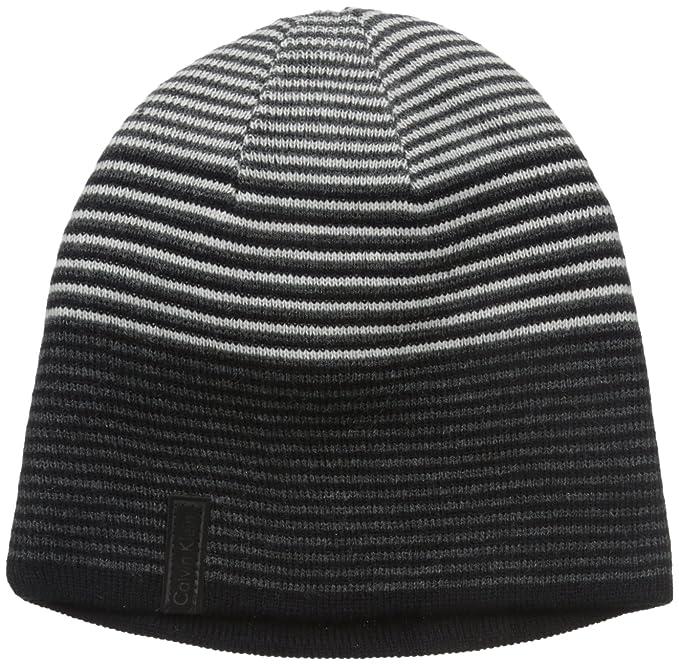 70a9a407 Calvin Klein Men's Ombre Logo Reversible Beanie, Black, One Size ...