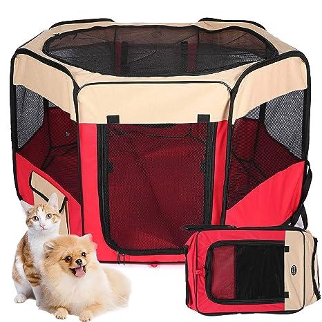 Parque Mascotas con 8 Paneles Plegable Resistente Corrales para Perros Gatos Conejos Grandes Medio Pequeños Juego