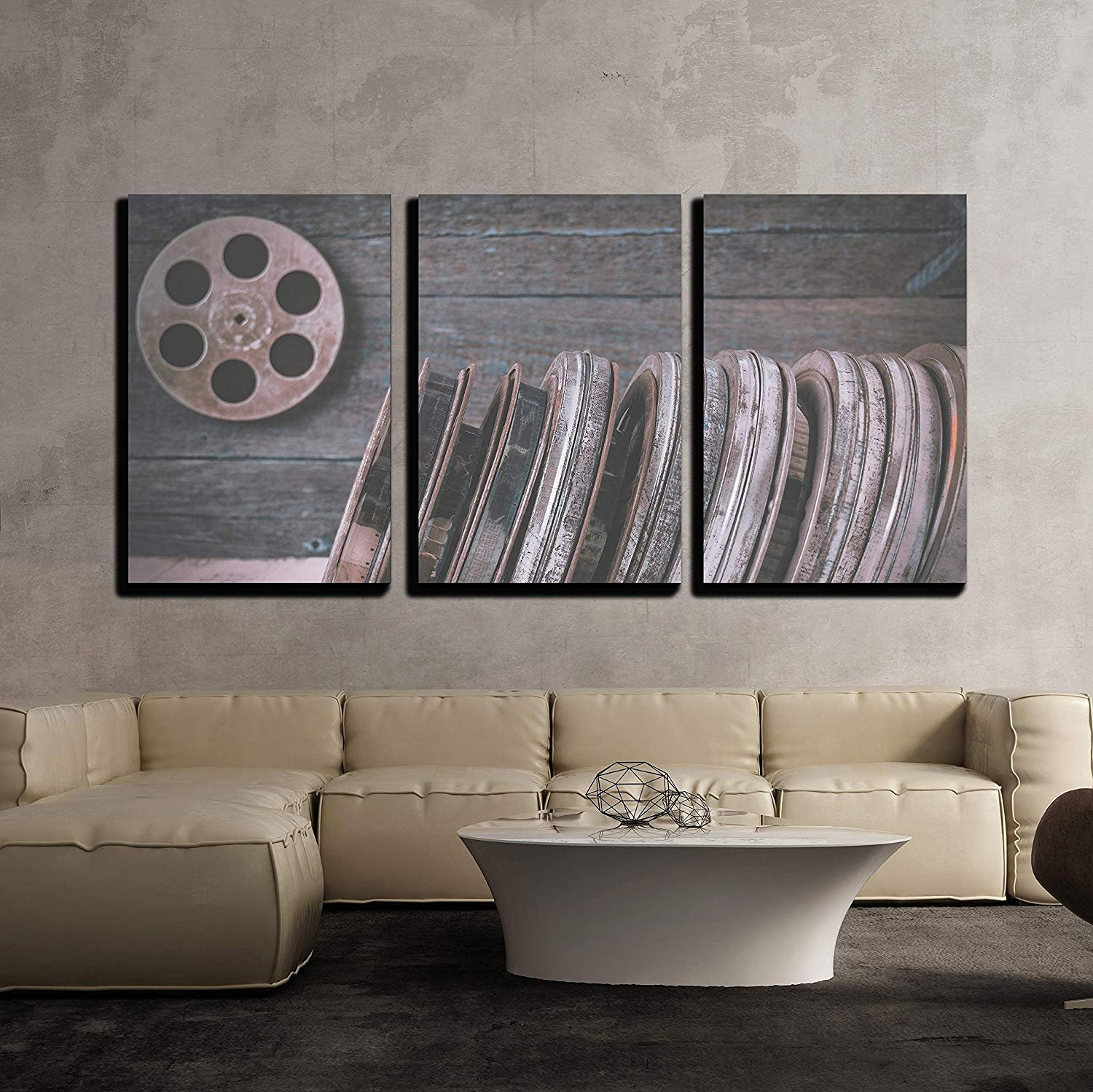 BABE MAPS 16''x24''x3 Panels Wall Decor Artwork Ready Hang Paintings Stack of Reels of Old Movies is on a Wooden Shelf Painting on Canvas Home Decorations