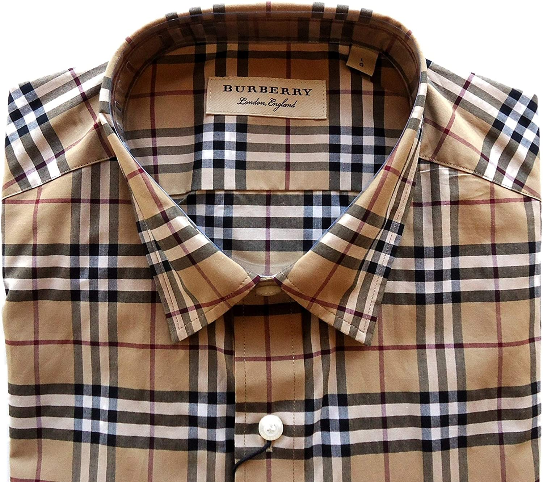 BURBERRY - Camisa Casual - para Hombre Check Camel 46: Amazon.es: Ropa y accesorios