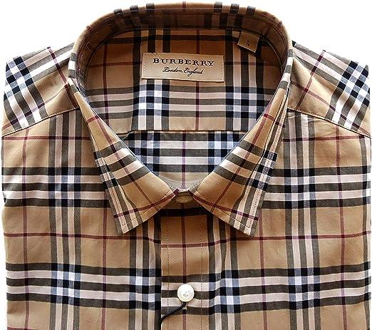 BURBERRY - Camisa Casual - para Hombre Check Camel 46: Amazon ...