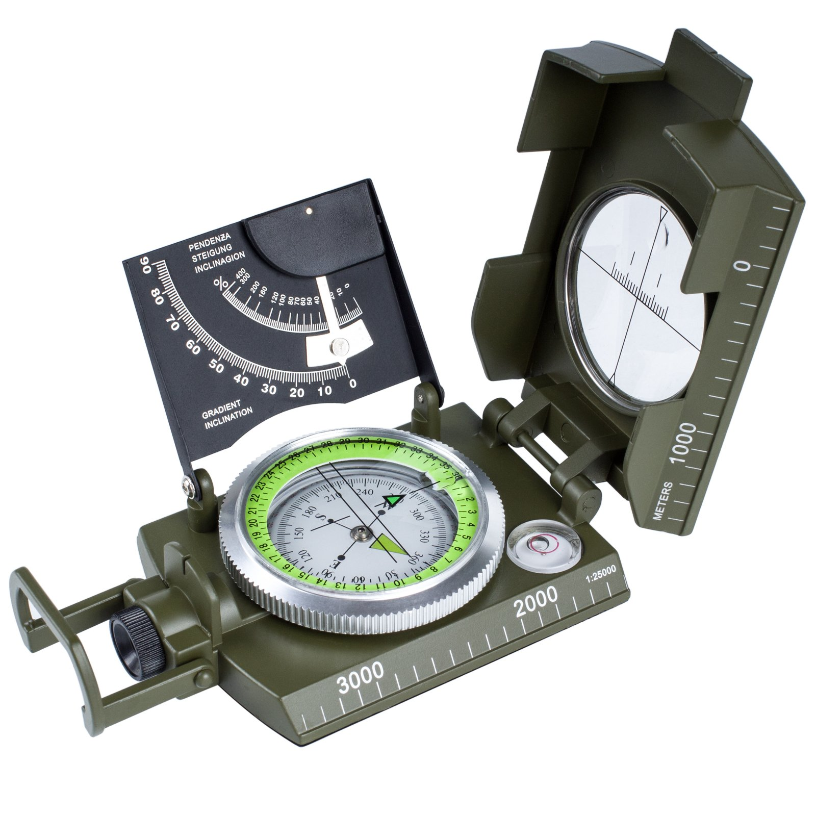 Oriketech Compass Waterproof Mini Compass with Inclinometer Multifunction Military and Pouch Lanyard Metal Army Sighting Compass for Outdoor Camping Hiking Compass Walking Biking Army Green by Oriketech