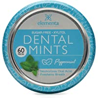 Elementa Natural Sugar-Free Breath Mints for Oral Care - Peppermint | 60 Pcs | Non-GMO + Vegan Friendly, Neutralizes Oral Acid, Soothes Dry Mouth