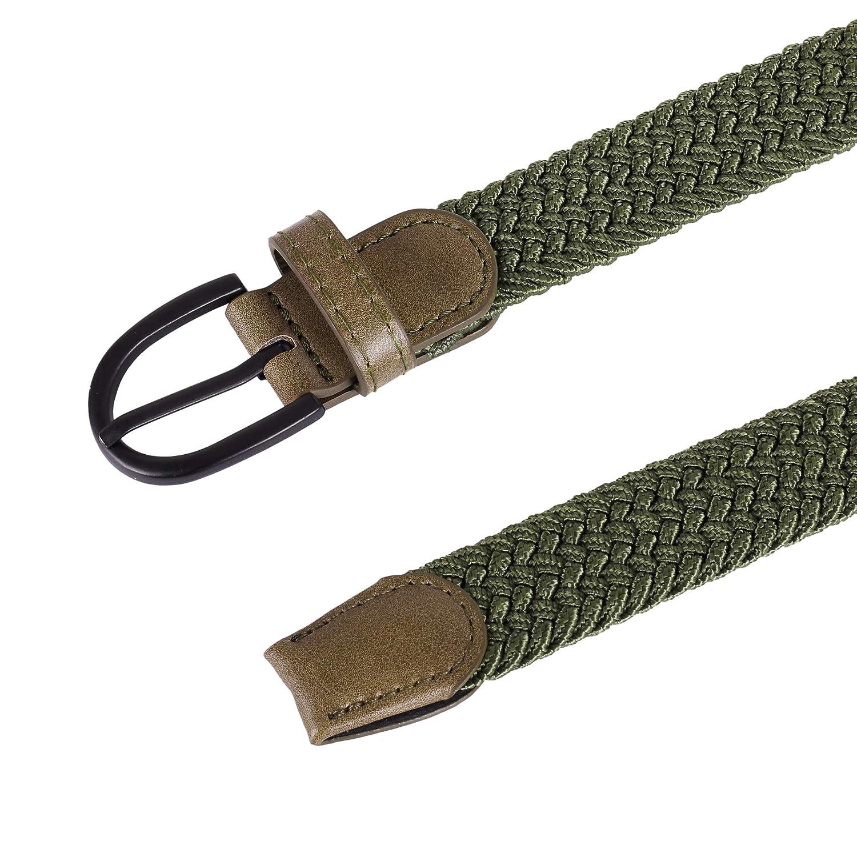 Junior Braided Stretch Elastic Belt  Pin Buckle 5 Sizes 5 Colors 1 width Boys Girls PU Loop End Tip