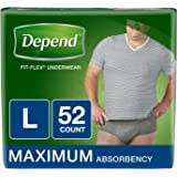 Depend FIT-Flex Incontinence Underwear for Men, Maximum Absorbency, L, Gray, 52 Count (Packaging May Vary)