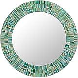 "NOVICA Green and Blue Glass Mosaic Wood Framed Round Decorative Wall Mounted Mirror, 20"" diameter, 'Aqua Fantasy'"