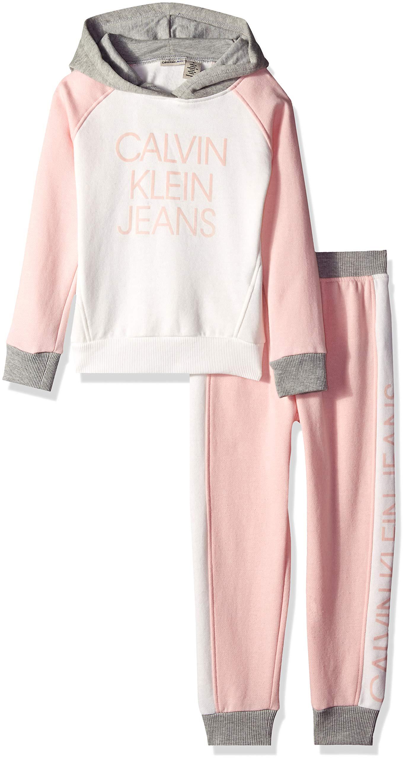Calvin Klein Girls' Little 2 Pieces Jog Set, Pink/Marshmallow, 5 by Calvin Klein (Image #1)