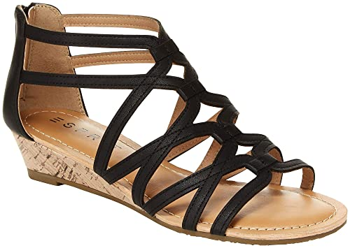 aeca8f70d8b Esprit Women s Candies Crisscross Strappy Cutout Low Wedge Sandal (6 M US