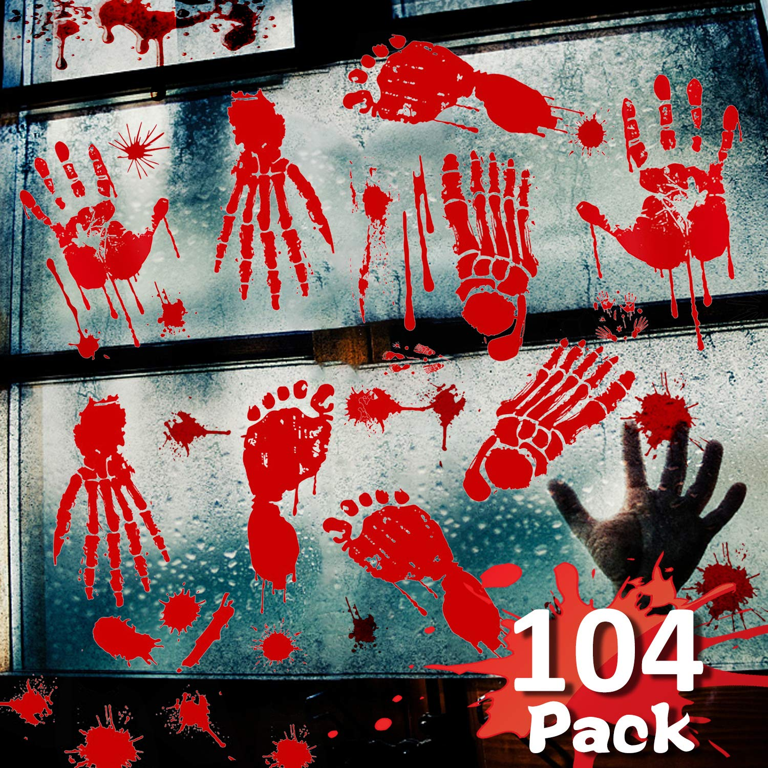 Winmayer 104 Pack Halloween Party Decoration Stickers,Bloody Handprint Footprints Stickers Clings Decals Bloodstain Indoor/Outdoor for Wall Door Window Floor Bathtub Haunted House Party Supplies Decor