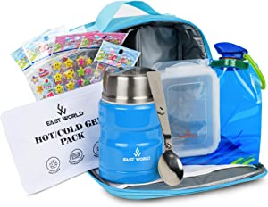 East World 7 Piece Kids Lunch Box Kit (Blue) with Insulated Lunch Bag, Kid Lunch Box for Boys or Girls, Foldable Water Bottle, Hot/Cold Ice Pack, Leak Proof Soup Flask Container, Spoon and Stickers