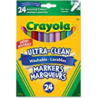 Crayola 24 Washable Fine Line Markers, Colossal, School and Craft Supplies, Drawing Gift for Boys and Girls, Kids, Teens Ages 5, 6,7, 8 and Up, Holiday Toys, Stocking , Arts and Crafts,  Gifting