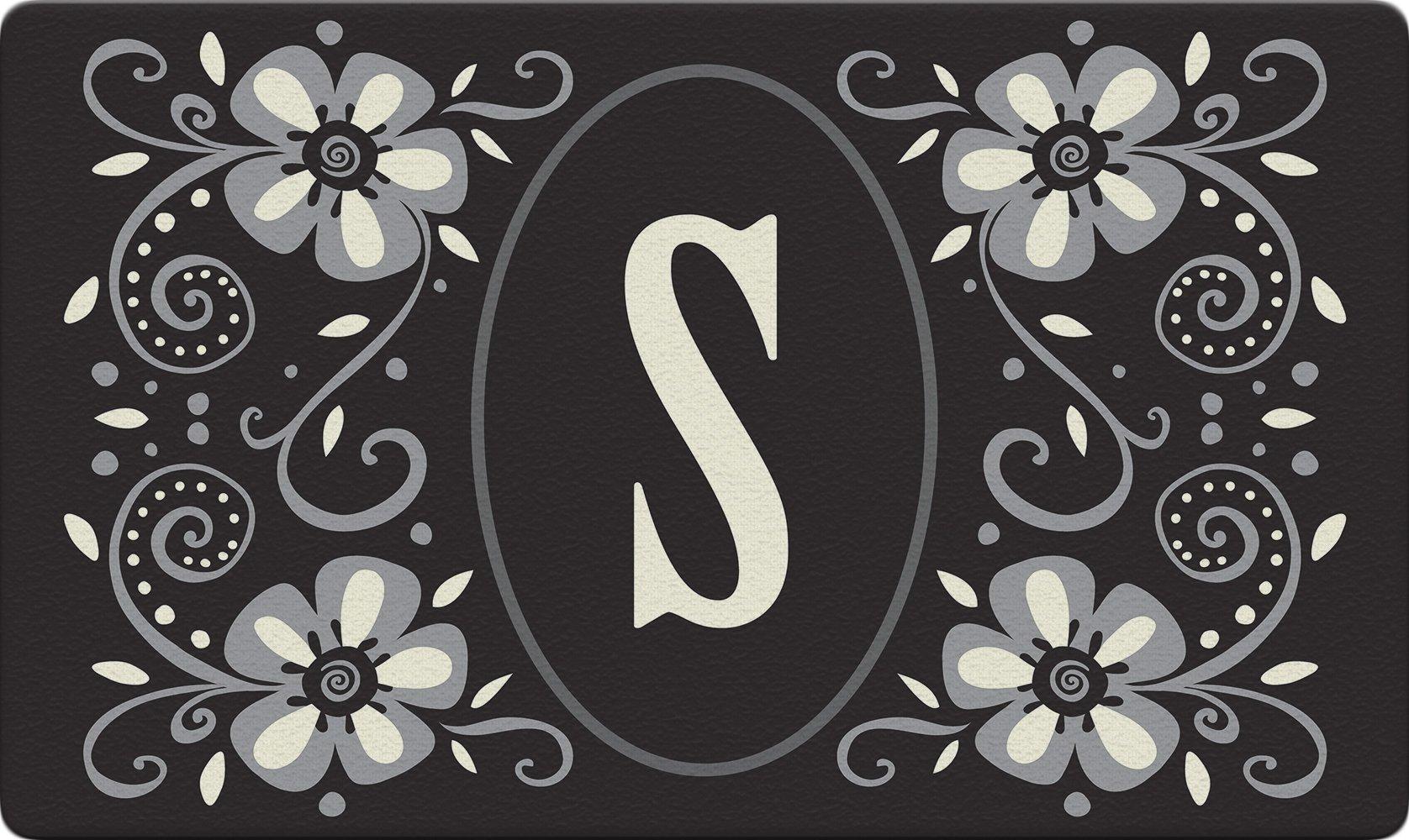 Toland Home Garden Classic Monogram S 18 x 30 Inch Decorative Floor Mat Flower Design Pattern Doormat