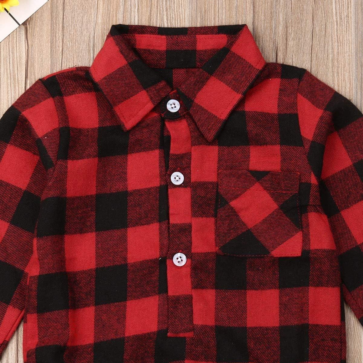 Baby M/ädchen Weihnachten Strampelh/öschen Lang/ärmlige Karierte Bodysuit-Shirts f/ür Kleinkinder
