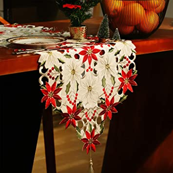Jovitec Christmas Table Runner Holly Leaf Table Linens Dresser Scarves Table Decoration For Christmas Party Supplies 15 By 69 Inches