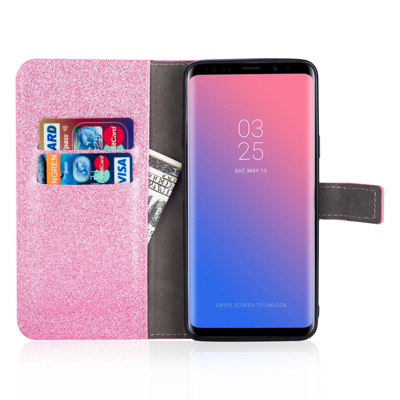 Miagon Diamante Custodia per Samsung Galaxy A20,Brillante Glitter Farfalla Fiore Portafoglio in Pelle PU Cuoio Caso Carte di Slot Cover Protettiva,Arcobaleno Rosa