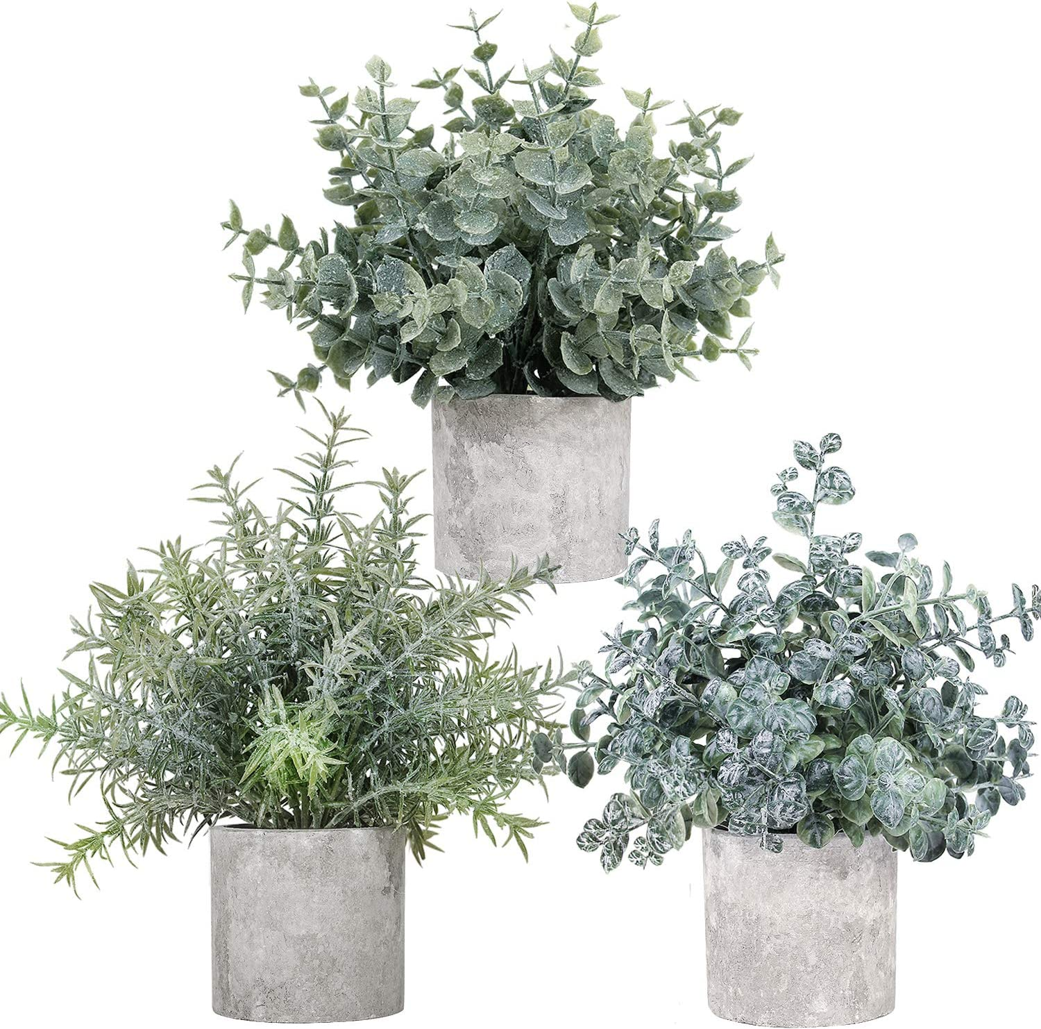 LELEE Artificial Potted Plants Mini Fake Plants, 3 Pack Small Eucalyptus Potted Faux Rosemary Green Decorative Plant with Pot for Home Decor, Indoor, Office, Shelf, Desk, Table Decoration