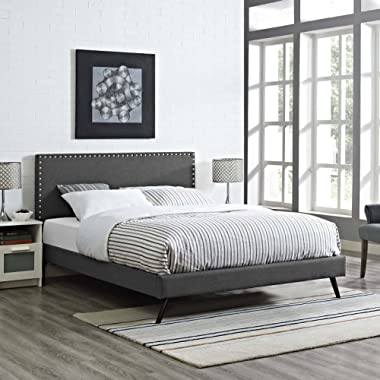 Modway Macie Upholstered Queen Platform Bed Frame With Round Splayed Legs in Gray