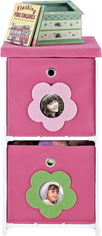Altra Furniture 2-Bin Kids Storage Unit, Pink with Flower Theme