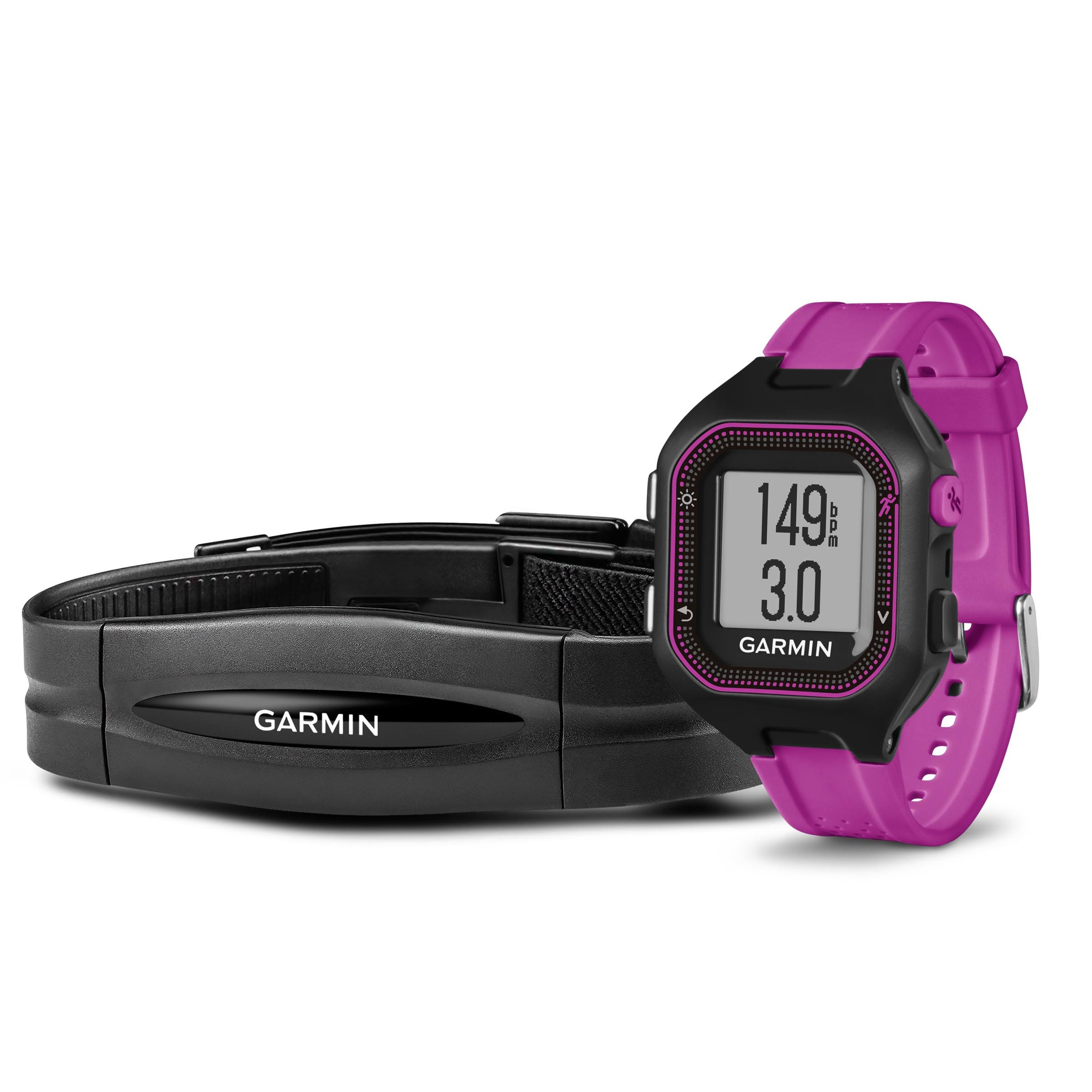 Garmin Forerunner 25 Bundle with Heart Rate Monitor, Small - Black and Purple by Garmin