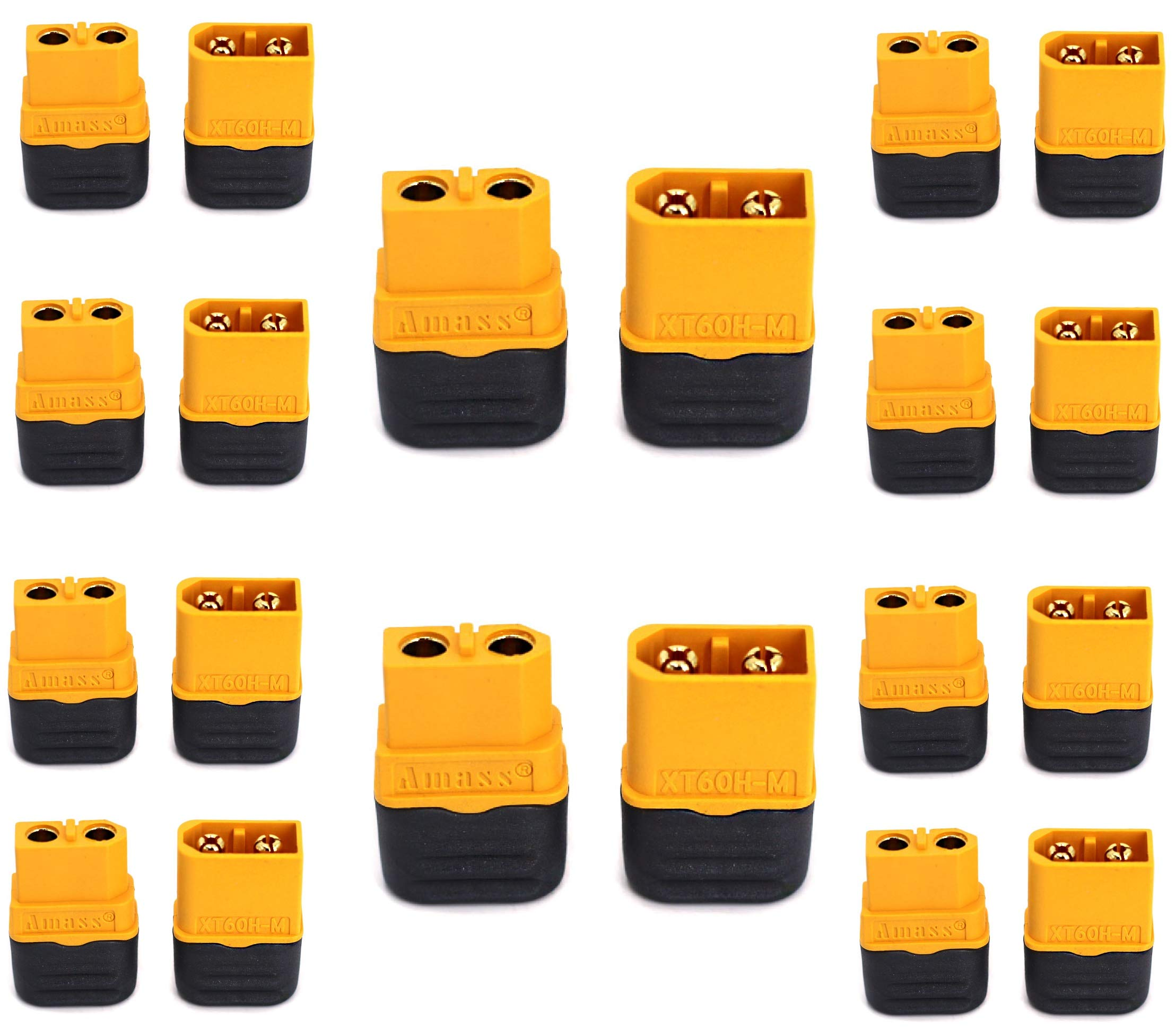 Amass XT60H 10 Pair Upgraded XT60 Connectors Male Female Power Plug with Sheath for Lipo Batteries