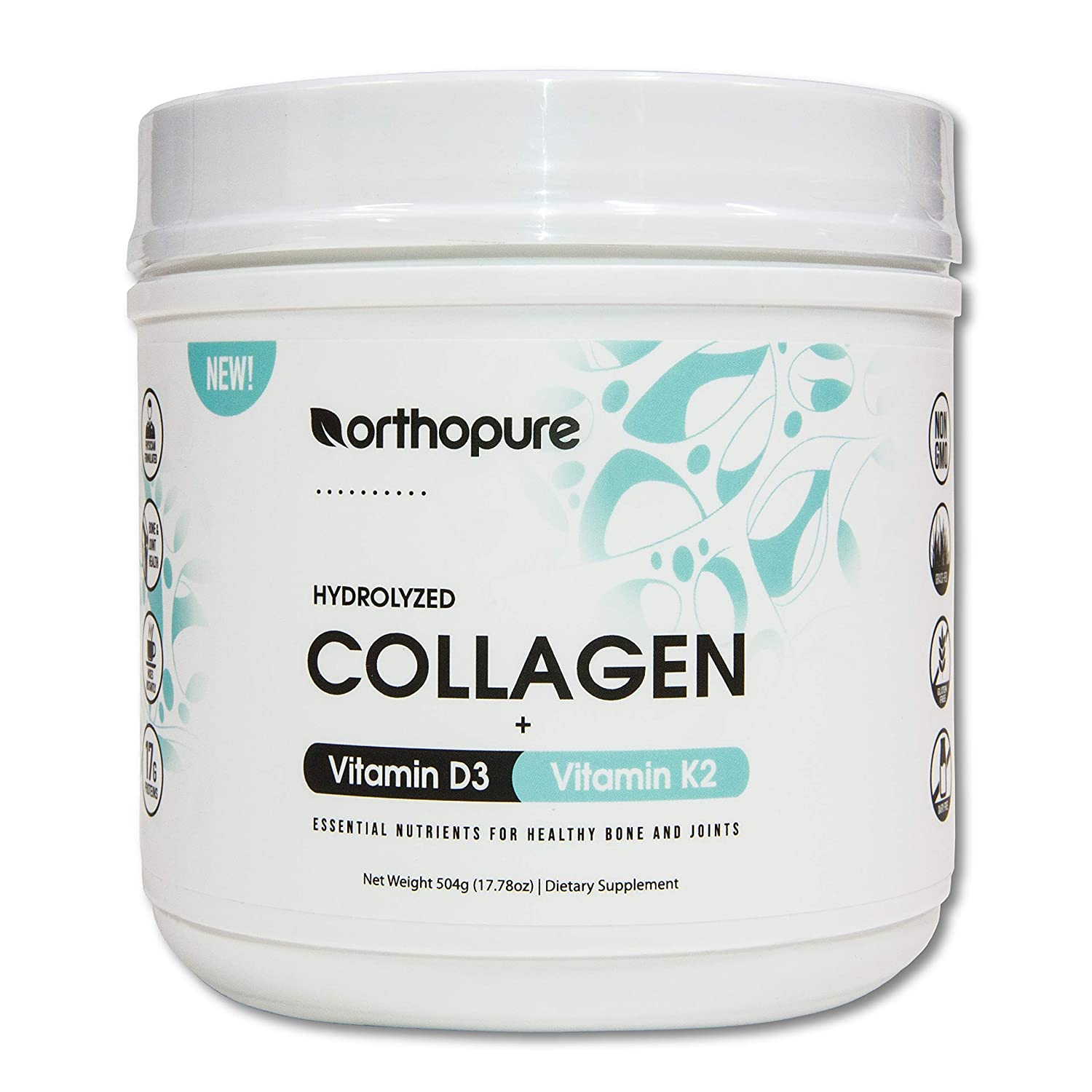 Orthopure Collagen Peptides Fortified with Vitamin D3 and Vitamin K2, (18g Collagen peptides)