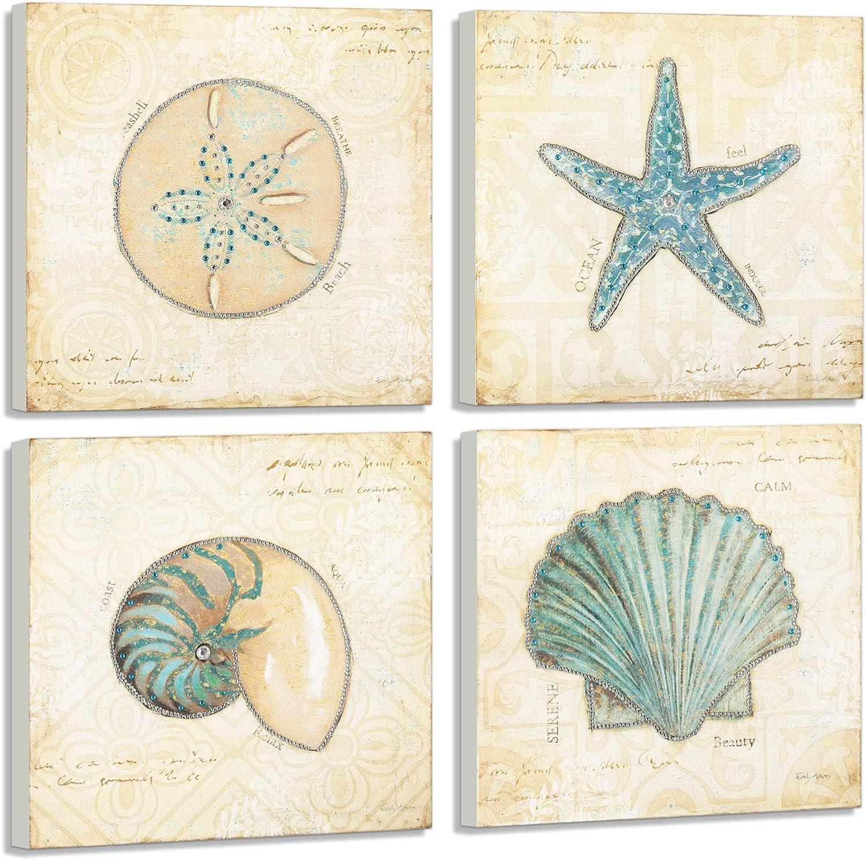 YIMEI Wooden Wall Art Seashell Shells and Starfish Rhinestones Decoration Beach Theme Diamond Painting for Living Room Bedroom Home Decor12x12''(Set of 4)