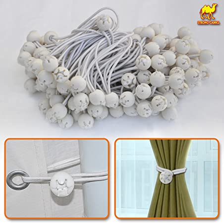 """25 WHITE 6/"""" BALL BUNGEE TIE DOWN CANOPY TARP BUNGEES CORDS STRAPS"""