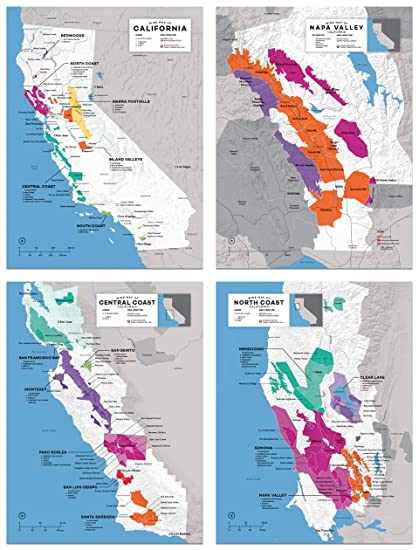 Amazon.com: Wine Folly California Regional Map Poster Print Set 4-pc on