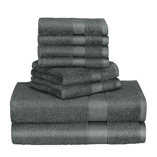 2 Duschtücher anthrazit grau 70x140 cm Set Baumwolle Frottee Duschtuch groß