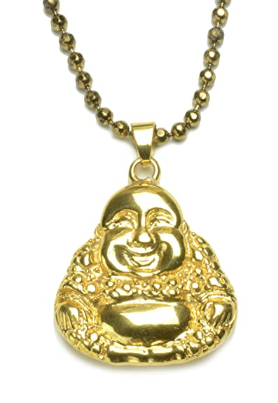 Life in joy golden tone happy buddha stainless steel amulet life in joy golden tone happy buddha stainless steel amulet necklace mozeypictures Images