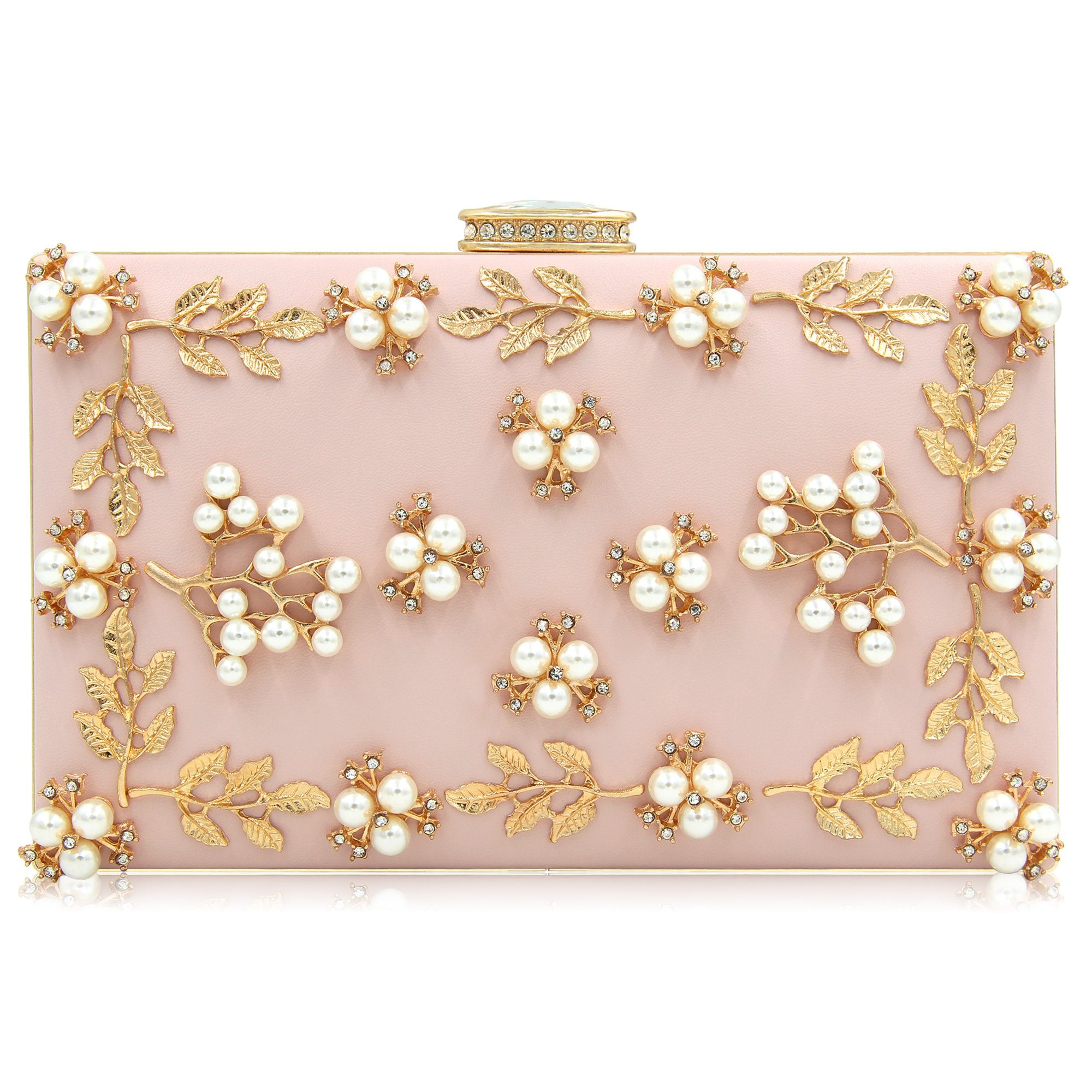 29cc21a4f6 Galleon - Milisente Women Clutches Pearls Evening Bag Clutch Purse Bags  (Light Pink)