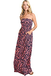 22ee723b450 Amazon.com  Chuanqi Womens Summer Strapless Maxi Dresses Off The ...