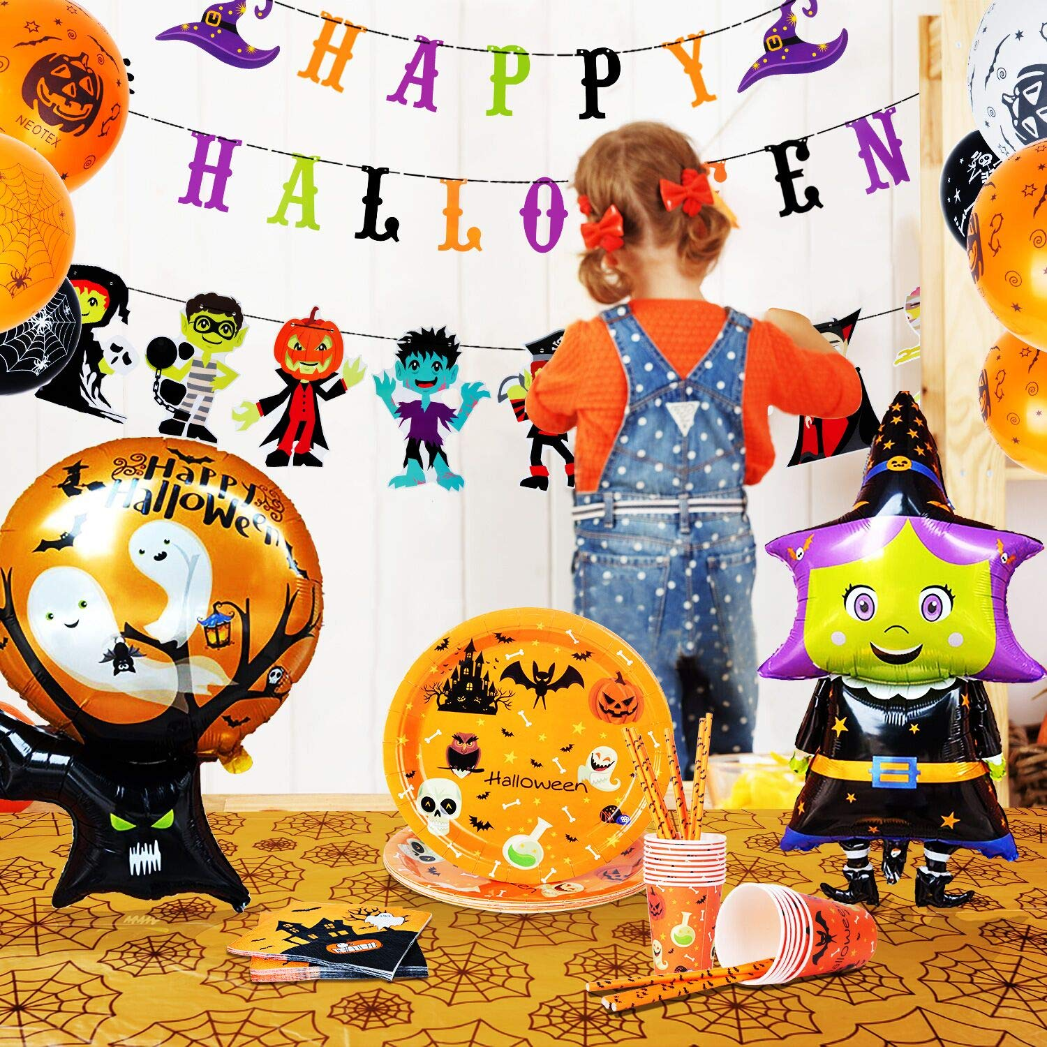 Halloween Party Decorations for Kids - Halloween Party Supplies Set - 91 Pieces(Serves 16) Includes Happy Halloween Banners Witch Balloons Tablecloth Plates Napkins Cups Straws by ORIENTAL CHERRY