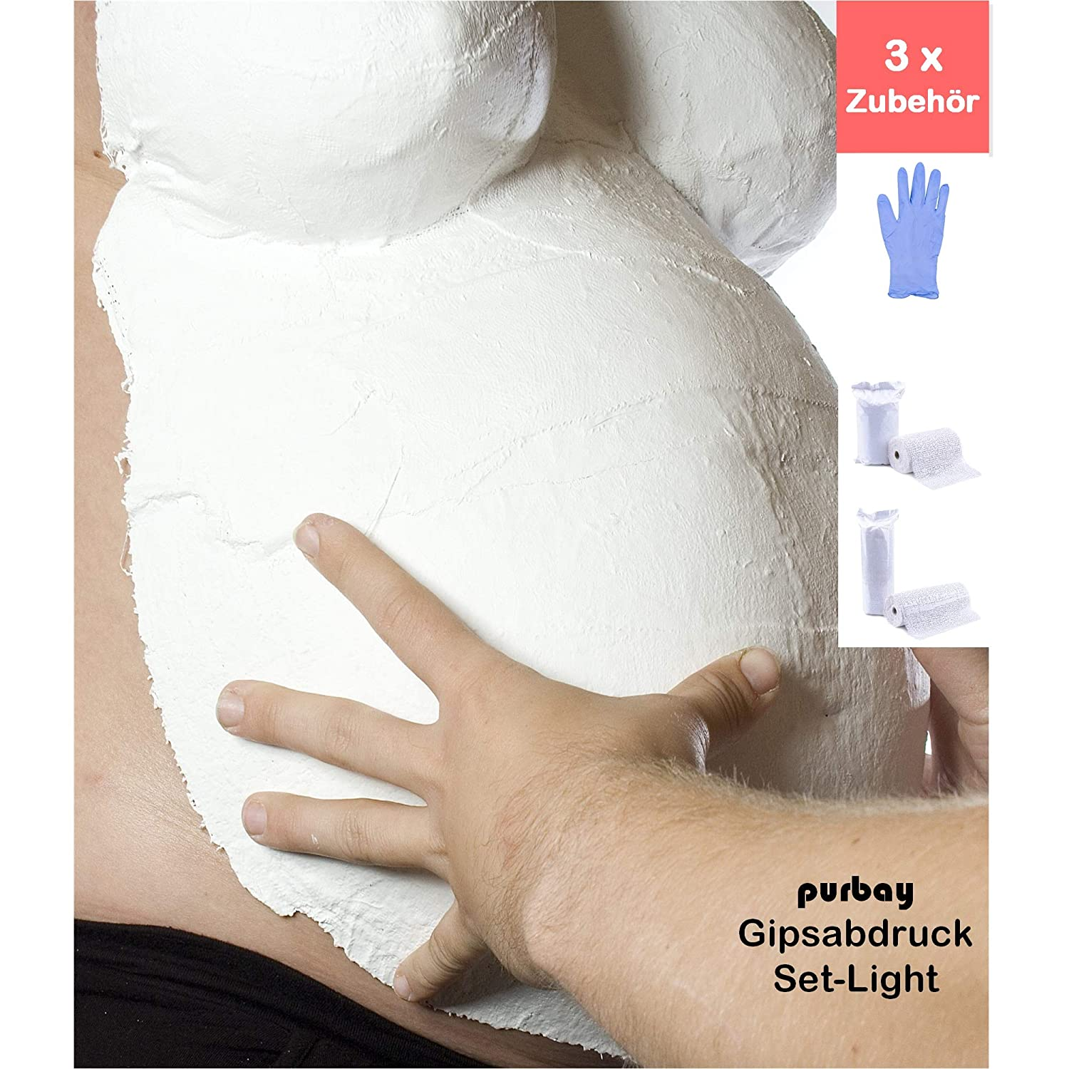 Purbay Premium Babybauch Gipsabdruck Set LIGHT