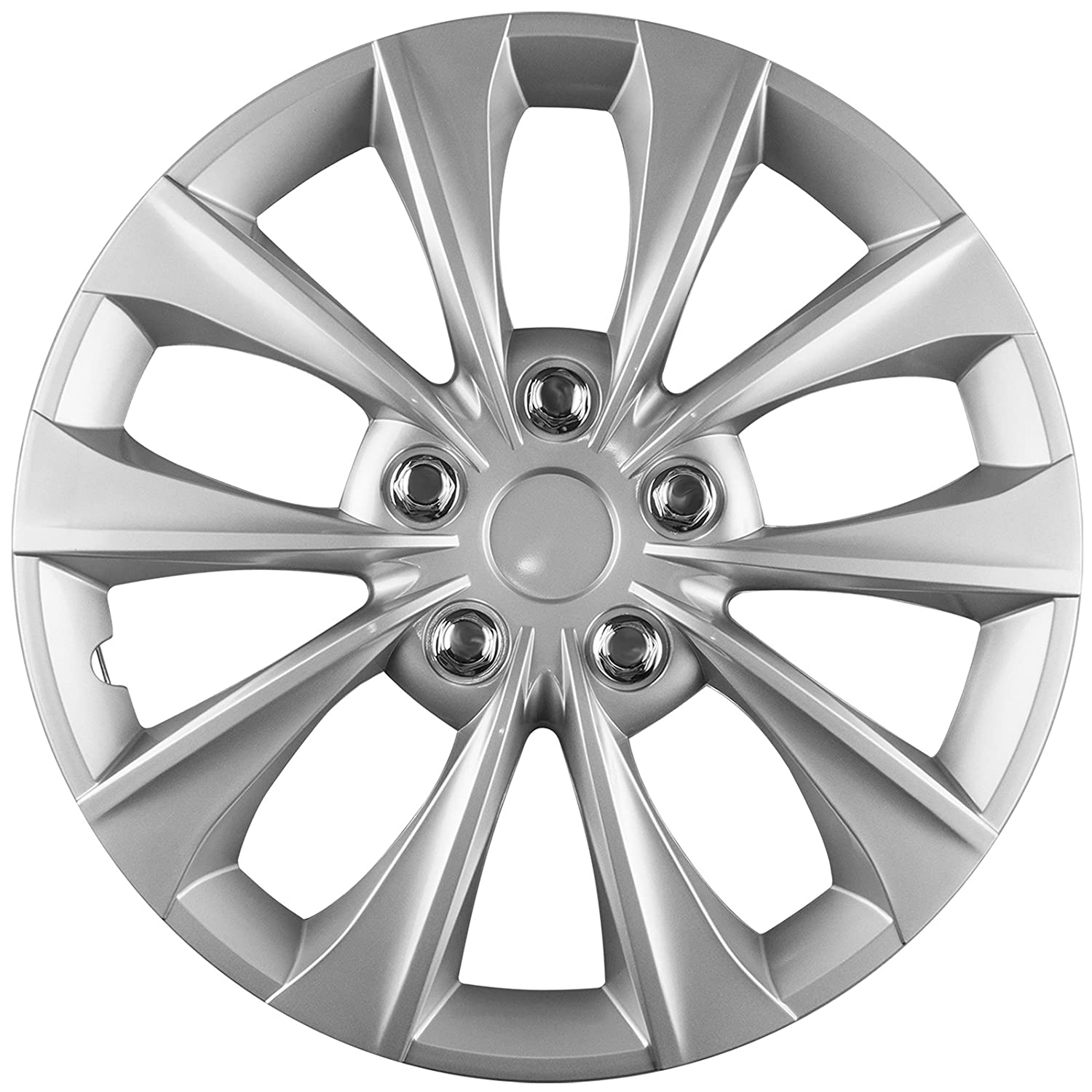 OxGord Hub-caps for 15-19 Toyota Camry /(Pack of 4/) Wheel Covers 16 inch Snap On Silver WCHC-61175-16SL
