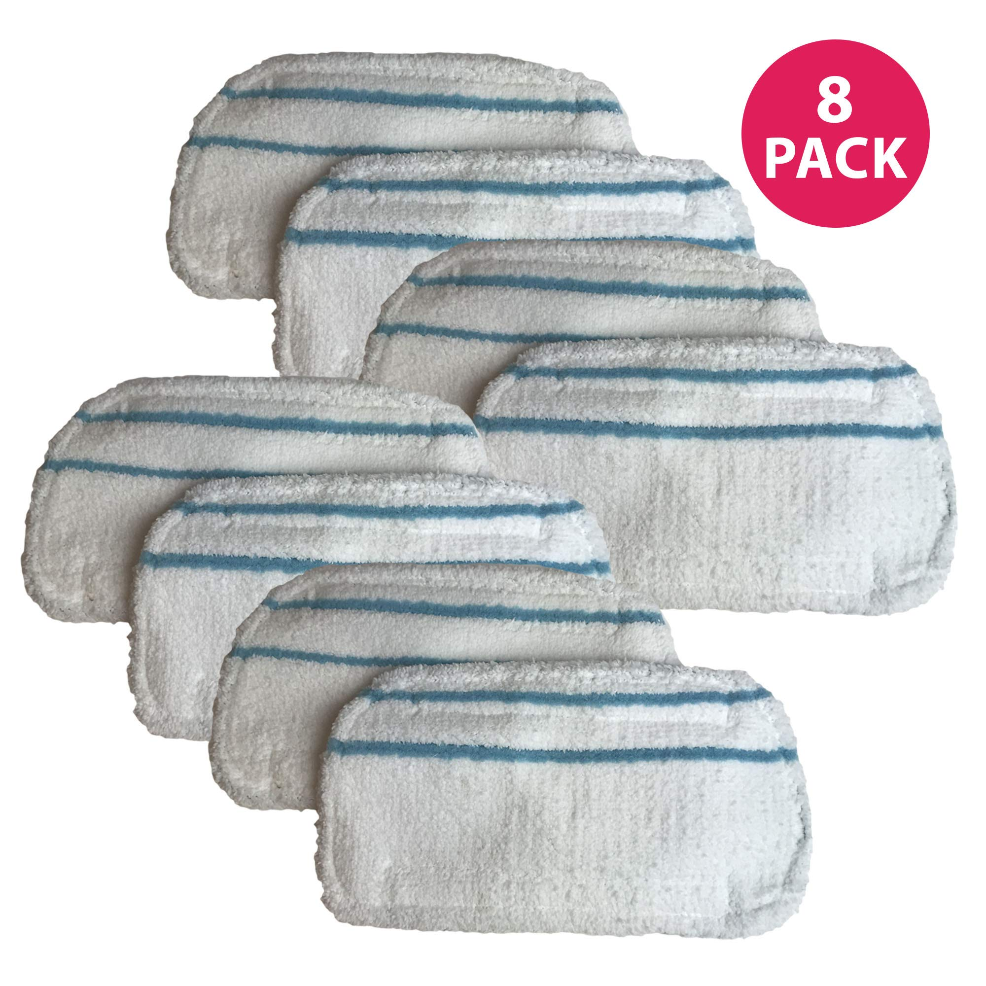 Crucial Vacuum Replacement Mop Pads - Compatible with Black & Decker Part # SMP20 Steam Mop - Microfiber Mop Pads Models - Ideal for Lightweight, Washable, Reusable for Floors, Surfaces (8 Pack)